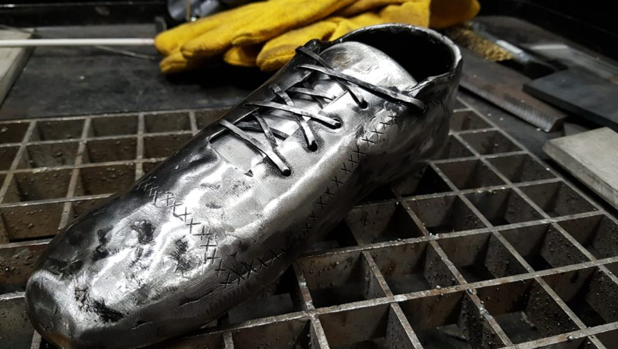 Victorious football boot triumphed in a welding contest