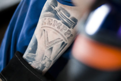 Kemppi tattooed on the arm