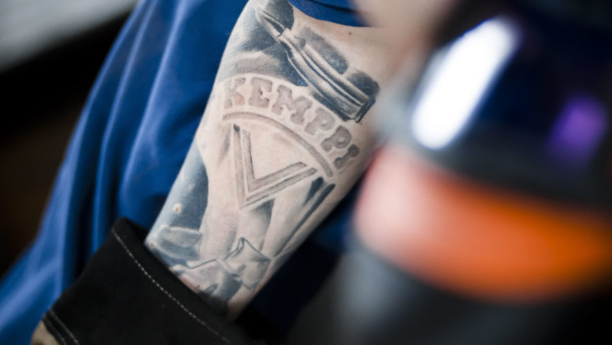 Kemppi tattooed on the arm
