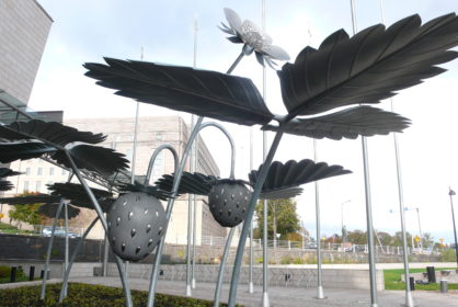 Steel strawberry sculpture in Helsinki