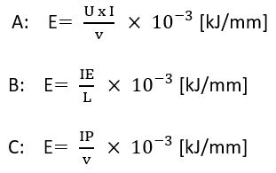 Formulae for calculating heat input