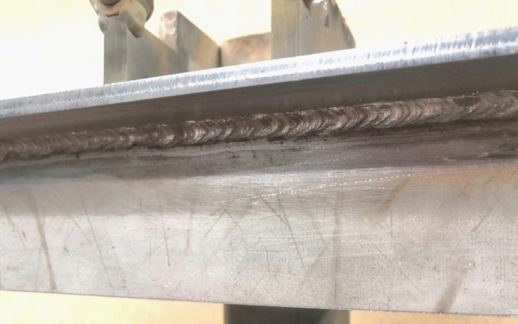 Pulsed MMA welded overhead fillet weld