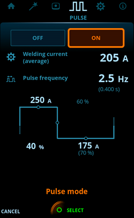 User interface view of pulsed MMA process